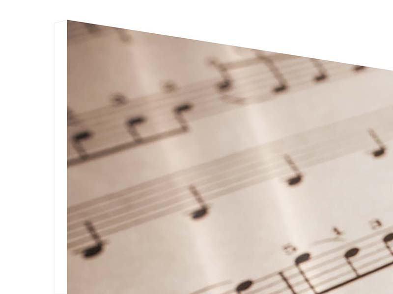 Hartschaumbild 3-teilig modern Das Notenblatt