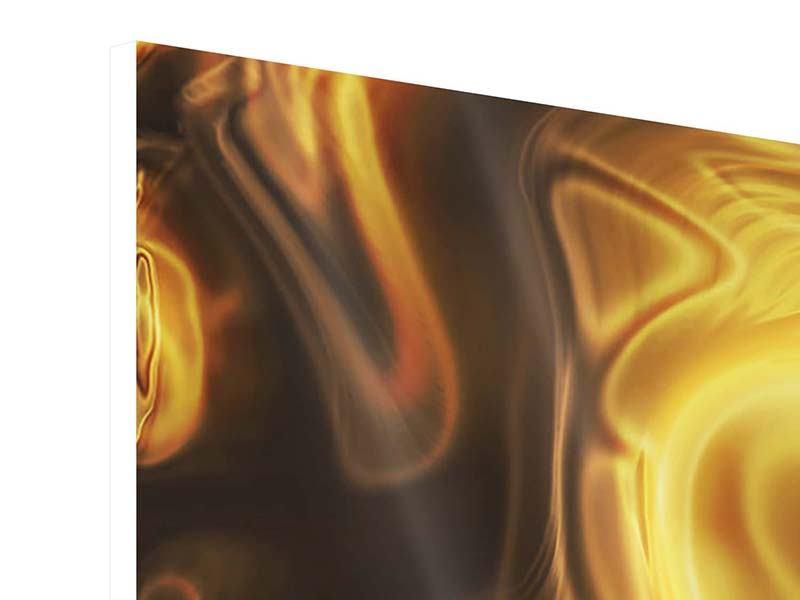 Hartschaumbild 3-teilig modern Abstrakt Flüssiges Gold