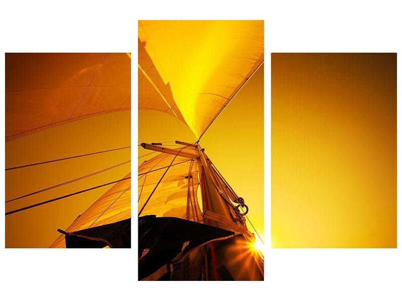 Hartschaumbild 3-teilig modern Segelboot im Sonnenuntergang