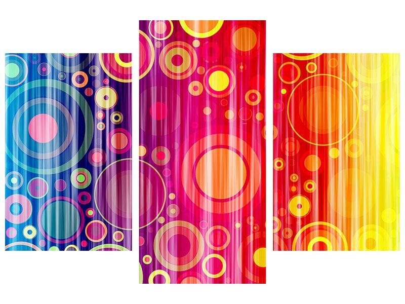 Hartschaumbild 3-teilig modern Grunge-Retrokreise