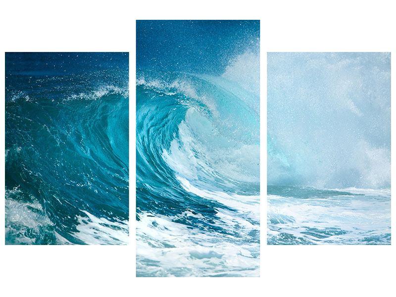 Hartschaumbild 3-teilig modern Die perfekte Welle