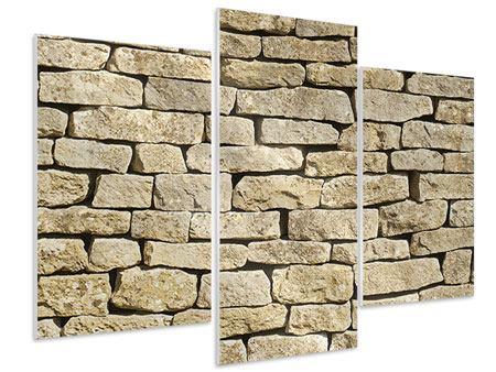 Hartschaumbild 3-teilig modern Alte Mauer