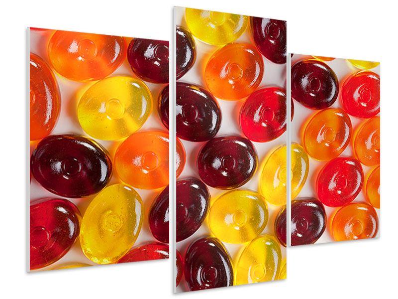 Hartschaumbild 3-teilig modern Bonbons