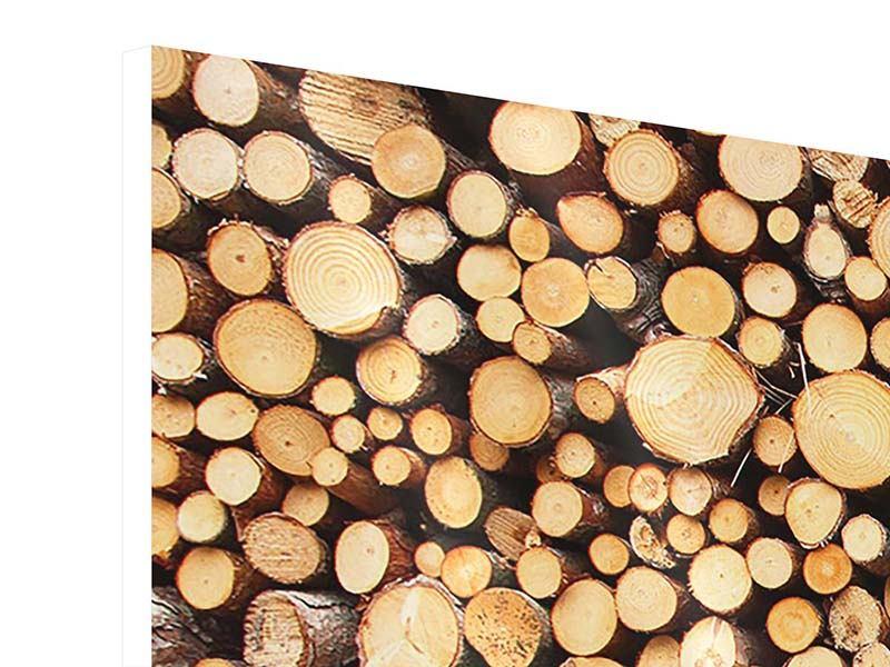 Hartschaumbild 3-teilig modern Holzstämme