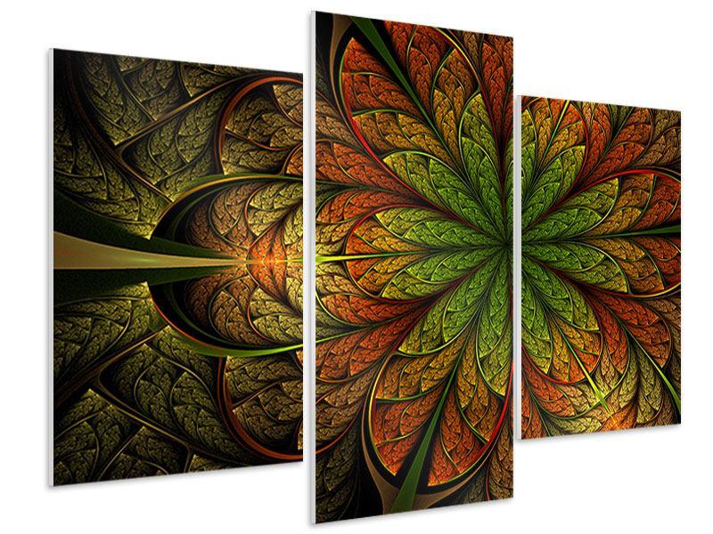Hartschaumbild 3-teilig modern Abstraktes Blumenmuster