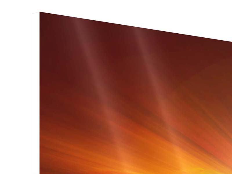 Hartschaumbild 3-teilig modern Glühender Sonnenuntergang