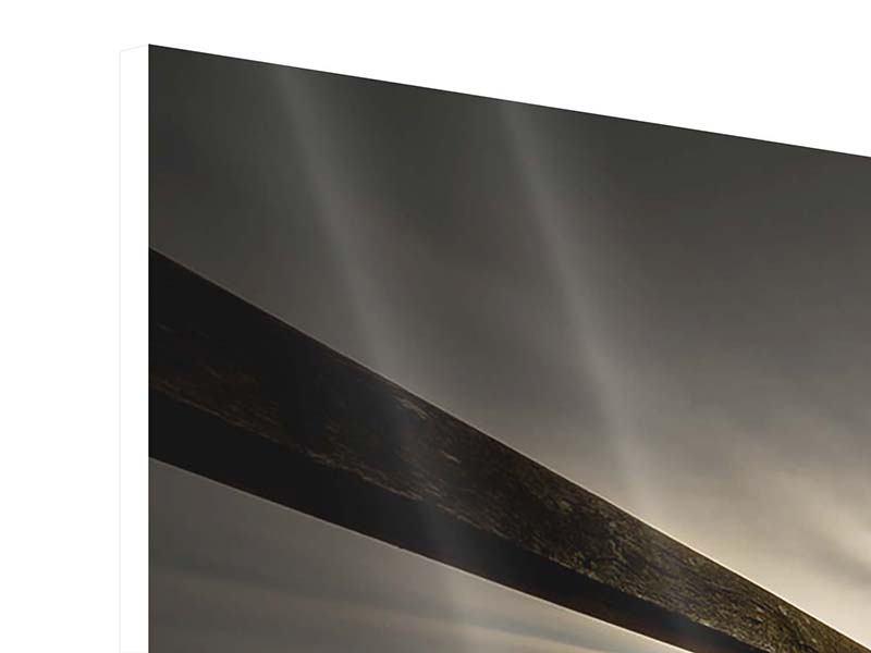 Hartschaumbild 3-teilig modern Die Holzbrücke