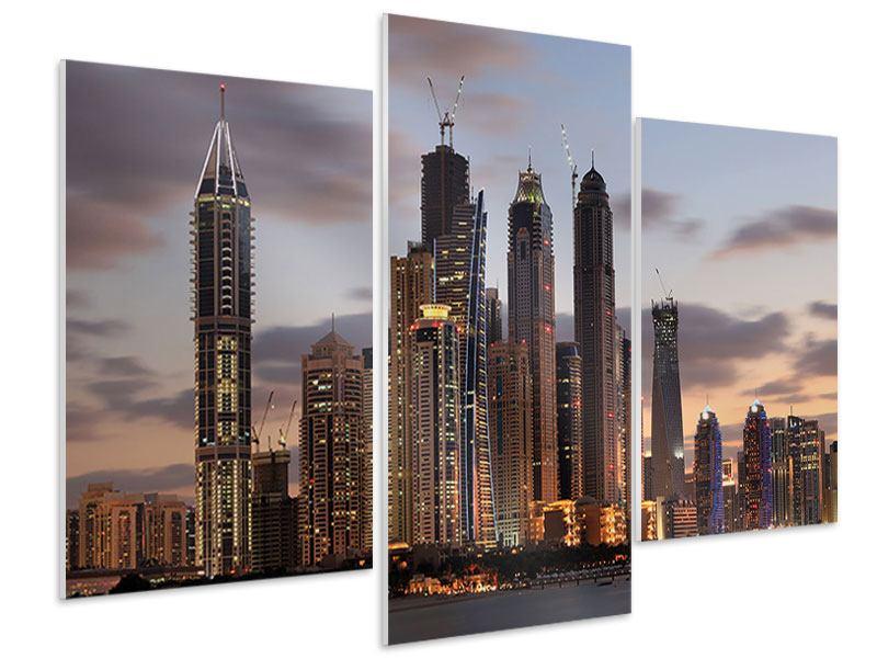Hartschaumbild 3-teilig modern Skyline Dubai bei Sonnenuntergang