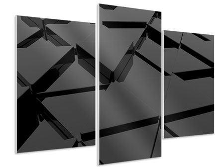 Hartschaumbild 3-teilig modern 3D-Dreiecksflächen