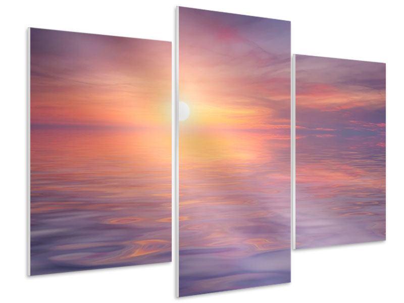 Hartschaumbild 3-teilig modern Sonnenuntergang auf See