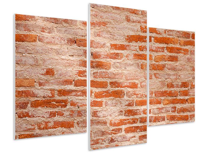 Hartschaumbild 3-teilig modern Mauerwerk
