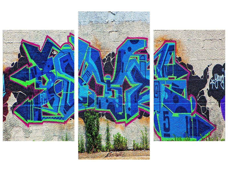 Hartschaumbild 3-teilig modern Graffiti NYC