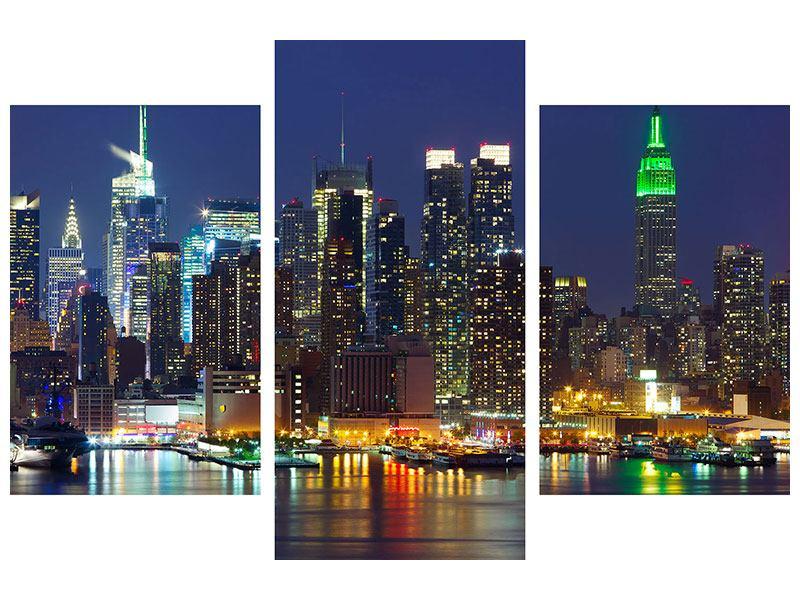 Hartschaumbild 3-teilig modern Skyline New York Midtown bei Nacht