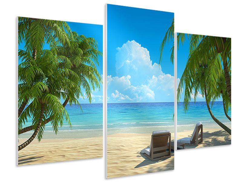 Hartschaumbild 3-teilig modern Strandparadies