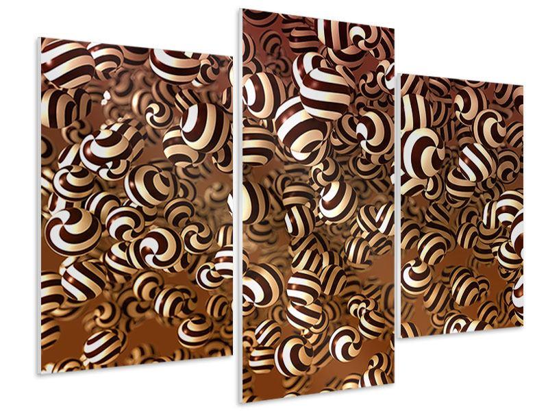 Hartschaumbild 3-teilig modern Schokoladen-Bonbons