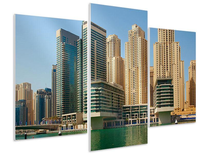 Hartschaumbild 3-teilig modern Spektakuläre Wolkenkratzer Dubai