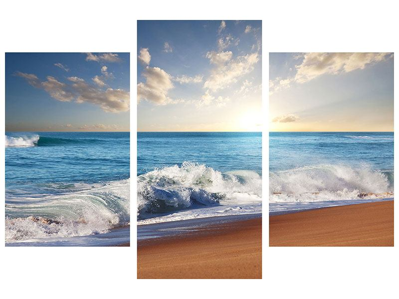 Modern 3 Piece Forex Print The Waves Of The Sea
