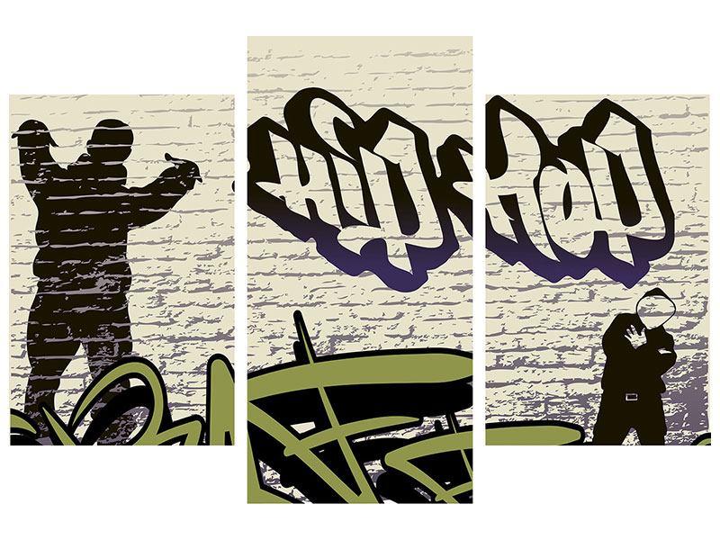 Hartschaumbild 3-teilig modern Graffiti Hip Hop