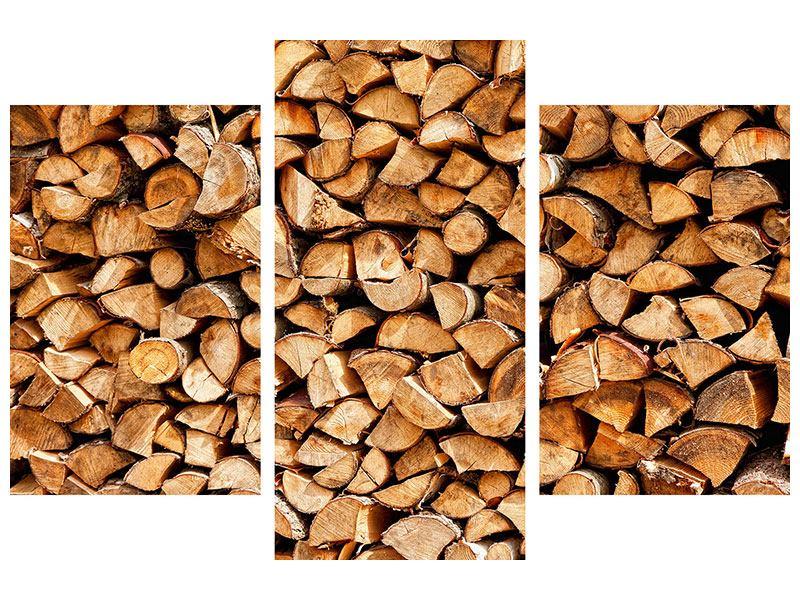 Hartschaumbild 3-teilig modern Gestapeltes Holz