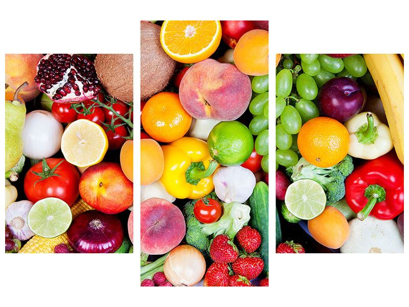 Hartschaumbild 3-teilig modern Frisches Obst