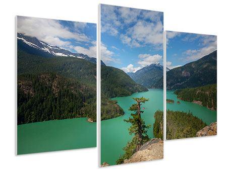Hartschaumbild 3-teilig modern Diablo Bergsee