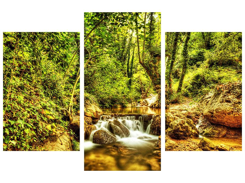 Hartschaumbild 3-teilig modern Wasserfall im Wald