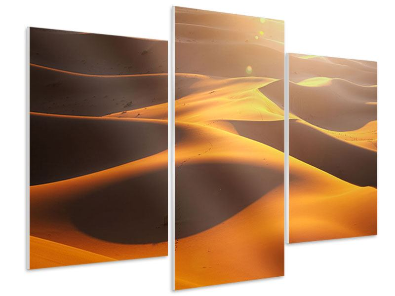 Hartschaumbild 3-teilig modern Wüstenwanderung