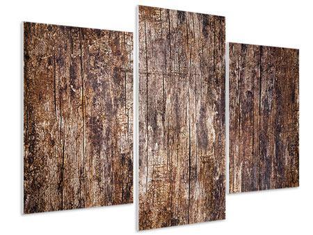 Hartschaumbild 3-teilig modern Retro-Holz