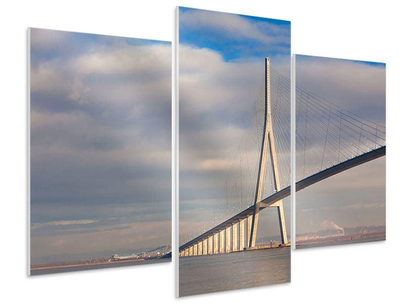 Hartschaumbild 3-teilig modern Pont de Normandie