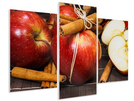 Hartschaumbild 3-teilig modern Äpfel