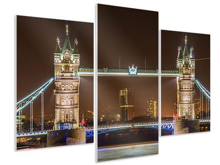 Hartschaumbild 3-teilig modern Tower Bridge bei Nacht