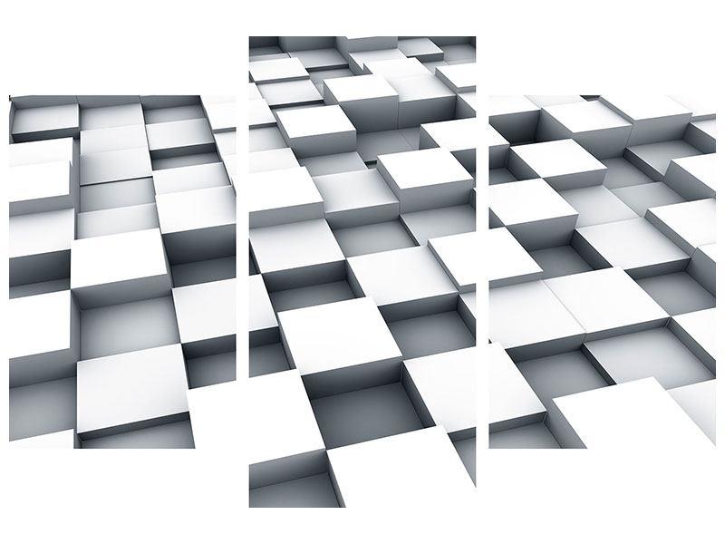 Hartschaumbild 3-teilig modern 3D-Kubus