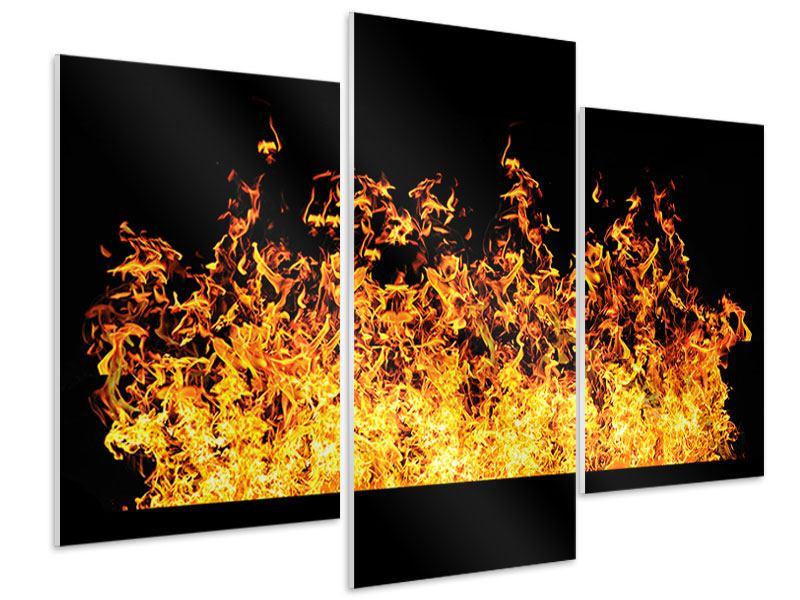 Hartschaumbild 3-teilig modern Moderne Feuerwand