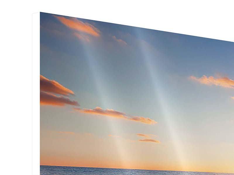 Hartschaumbild 3-teilig modern Sonnenuntergang am Horizont