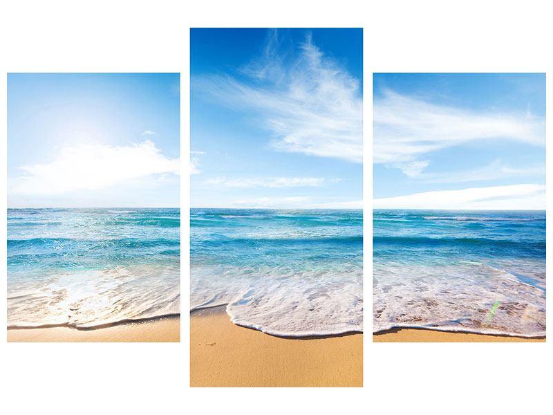 Hartschaumbild 3-teilig modern Spuren im Sand