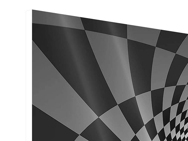 Hartschaumbild 3-teilig modern Abstraktes Schachbrett