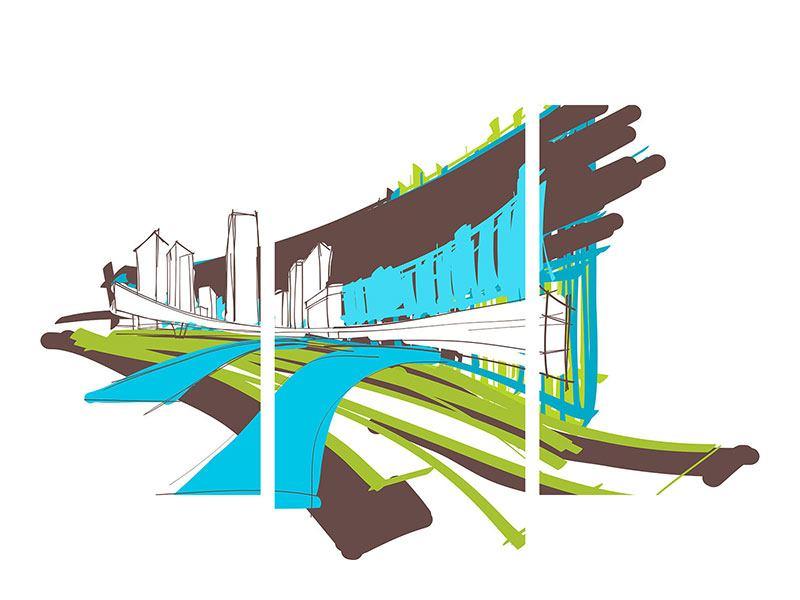 Hartschaumbild 3-teilig modern Graffiti Street-Art