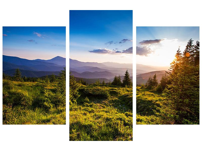 Hartschaumbild 3-teilig modern Friedliche Landschaft