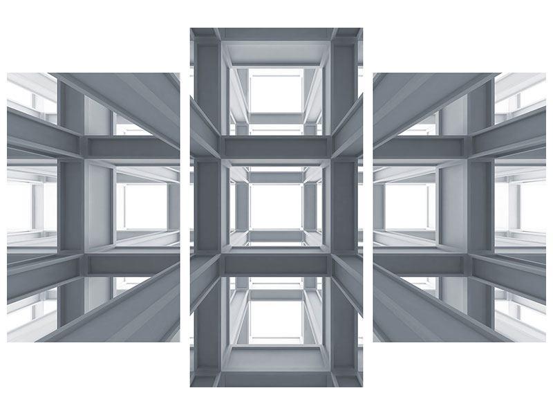 Hartschaumbild 3-teilig modern Räume