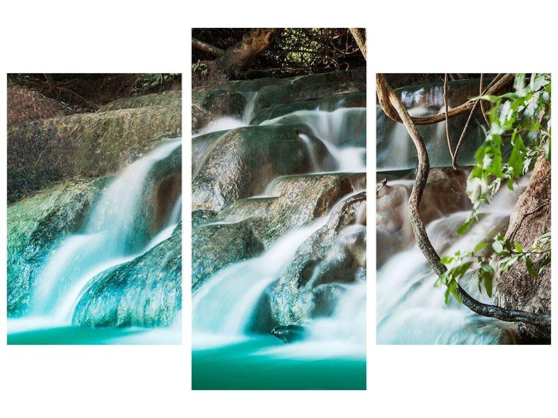Hartschaumbild 3-teilig modern Am Fluss des Lebens
