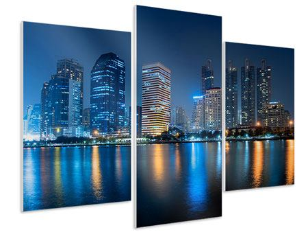 Hartschaumbild 3-teilig modern Skyline Bangkok bei Nacht