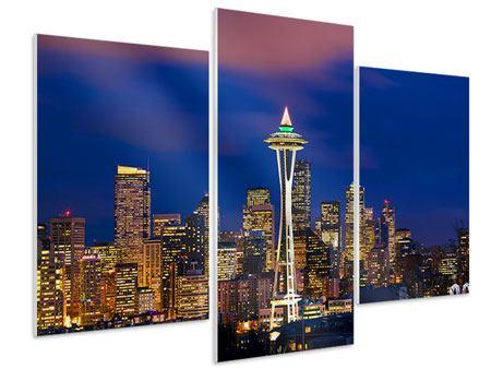 Hartschaumbild 3-teilig modern Skyline Seattle