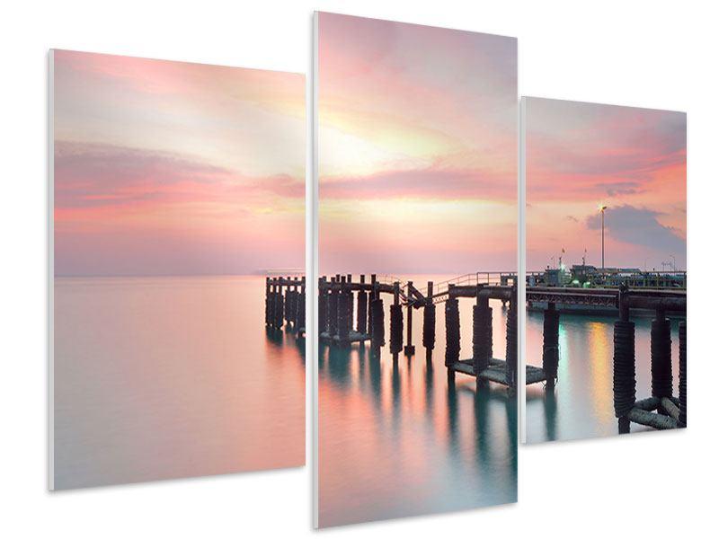 Hartschaumbild 3-teilig modern Der beruhigende Sonnenuntergang