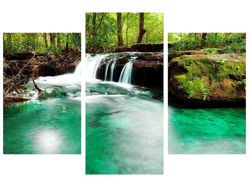 Hartschaumbild 3-teilig modern Der Fluss am Wasserfall