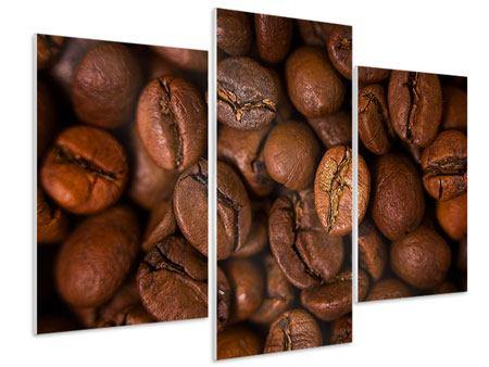Hartschaumbild 3-teilig modern Close Up Kaffeebohnen