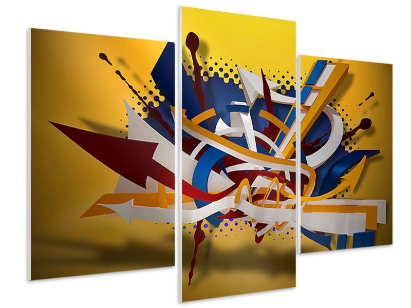 Hartschaumbild 3-teilig modern Graffiti Art