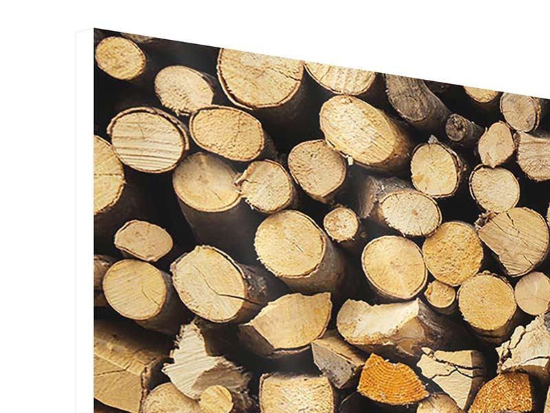 Hartschaumbild 3-teilig modern Brennholz