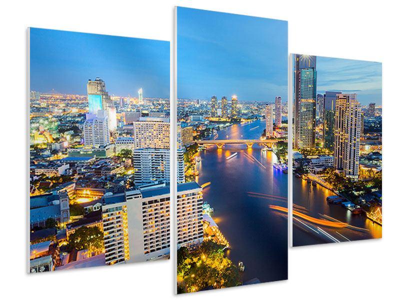 Hartschaumbild 3-teilig modern Skyline Bangkok bei Sonnenuntergang