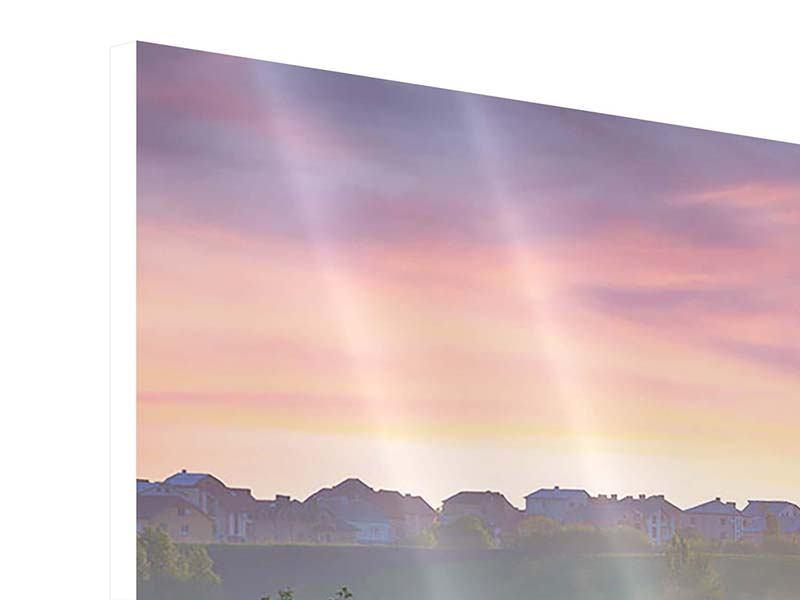 Hartschaumbild 3-teilig modern Sonnenuntergang am Hügel