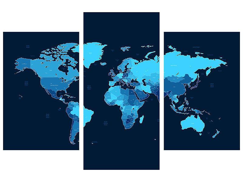 Hartschaumbild 3-teilig modern Weltkarte